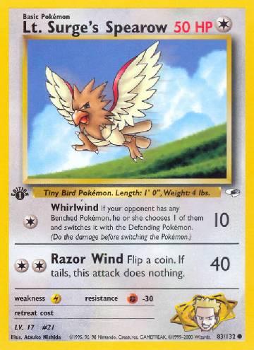 Spearow do Cap. Surge / Lt. Surge's Spearow (#83/132)